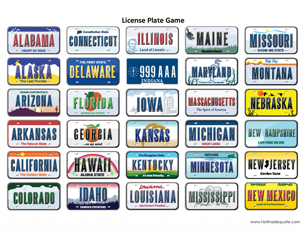 It is a graphic of Declarative License Plate Bingo Printable